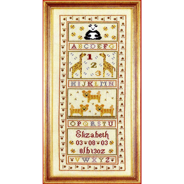 Historical Sampler Company Animal Alphabet Birth Sampler Cross Stitch Pattern