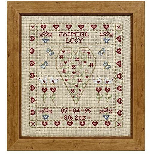 Historical Sampler Company Butterfly Birth Sampler Cross Stitch Pattern