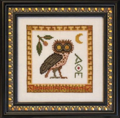 Ink Circles Athene Noctua (Athena's Owl) Cross Stitch Pattern