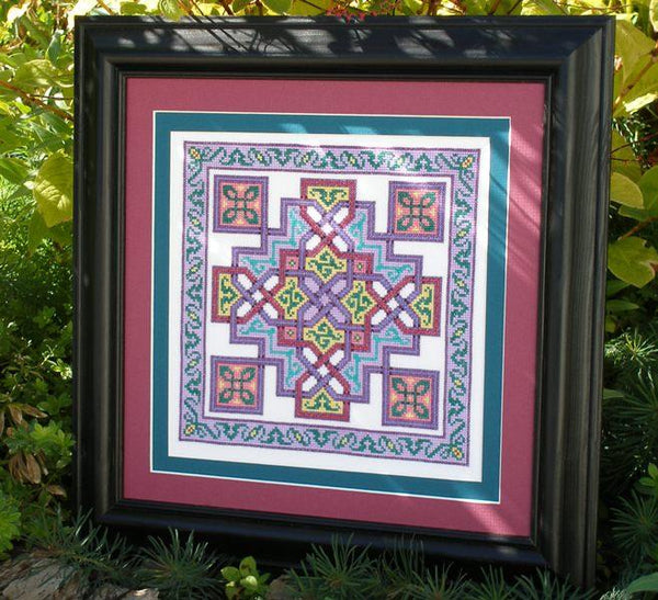 Ink Circles Dogwood Square Celtic Cross Stitch Pattern