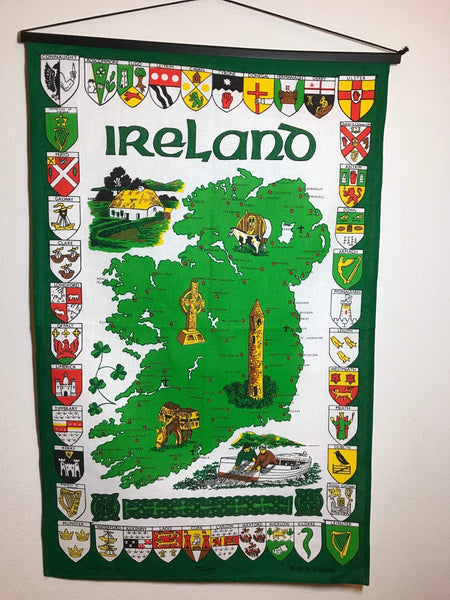 Tea Towel Ireland Map & County Coat of Arms Shields