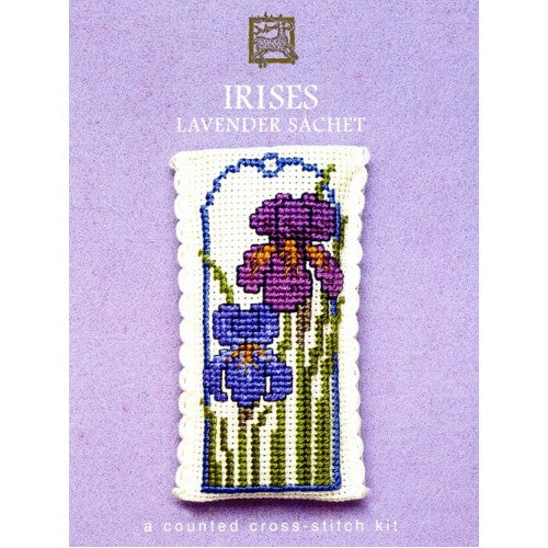 Textile Heritage Irises Lavender Sachet Cross Stitch Kit