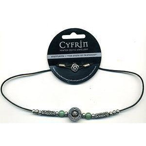 Cyfrin Dragon's Eye Celtic Bead and Genuine Gemstone Necklace Green Aventurine