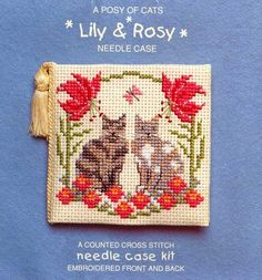 Textile Heritage Posy of Cats Lily & Rosy Needle Case Cross Stitch Kit