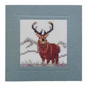 Textile Heritage Stag Miniature Card Cross Stitch Kit