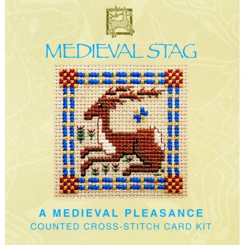 Textile Heritage Medieval Stag Miniature Card Cross Stitch Kit