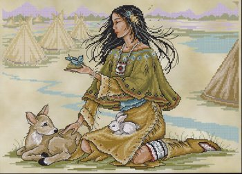 Joan Elliott Native American Maiden Cross Stitch Pattern
