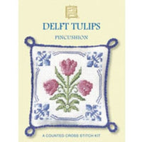Textile Heritage Delft Tulips Pincushion Cross Stitch Kit
