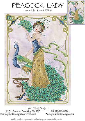 Joan Elliott Peacock Lady Cross Stitch Pattern
