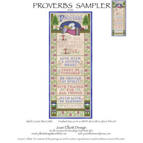 Joan Elliott Proverbs Sampler Cross Stitch Pattern