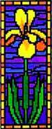 Landmark Tapestries & Charts Stained Glass Miniature Flag Iris Cross Stitch Pattern