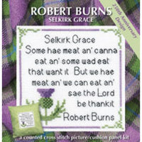 Textile Heritage Robert Burns Selkirk Grace Cushion Panel Picture Cross stitch Kit