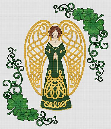 Artists Alley Shamrock Celtic Angel Cross Stitch Pattern