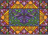 Landmark Tapestries & Charts Stained Glass Iris Cross Stitch Pattern