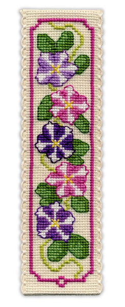 Textile Heritage Petunias Bookmark Cross stitch Kit