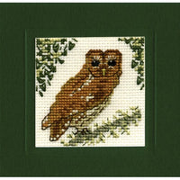 Textile Heritage Tawny Owl Miniature Card Cross Stitch Kit
