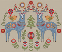 Artists Alley Two Deer Waiting Cross Stitch Pattern Christmas