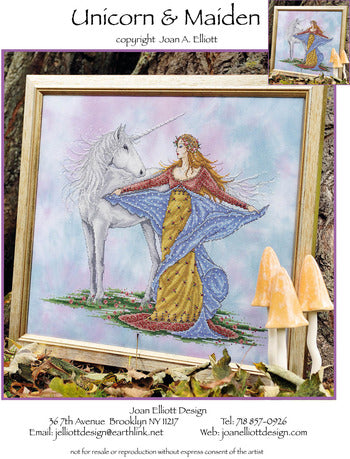 Joan Elliott Unicorn & Maiden Cross Stitch Pattern