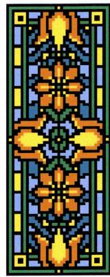Landmark Tapestries & Charts Victorian Tile Miniatures Celandine Cross Stitch Pattern