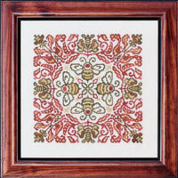 Ink Circles Red-Headed Bee Cross Stitch Pattern