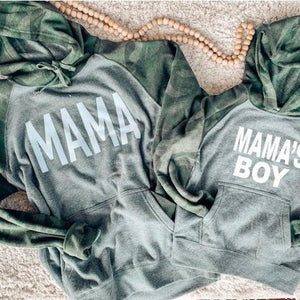 Mama's Boy Camo Raglan Hoodie-The Purple Pineapple Co.