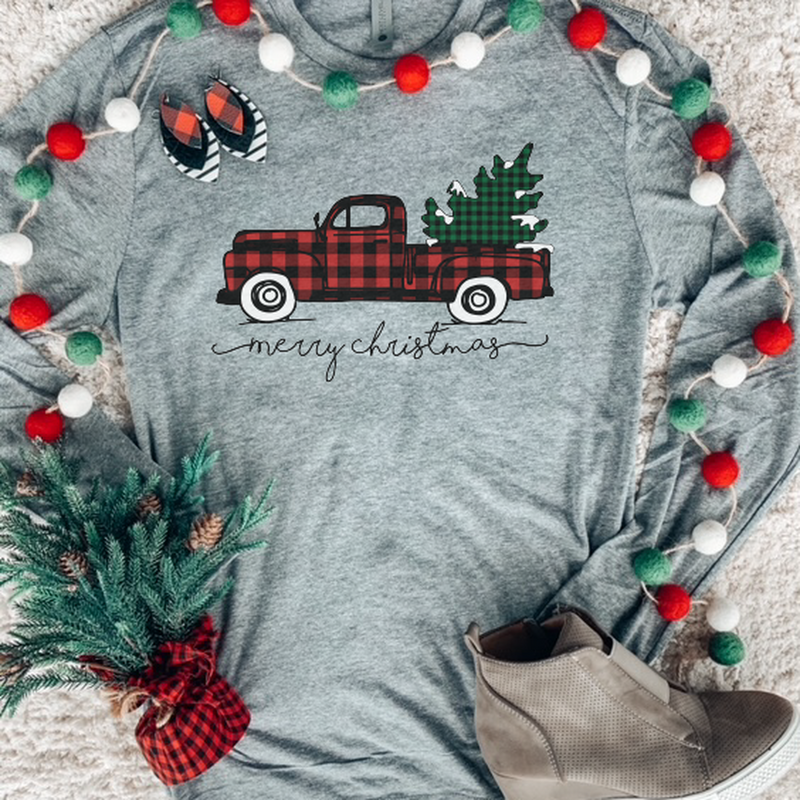 Christmas Truck Long Sleeve-The Purple Pineapple Co.