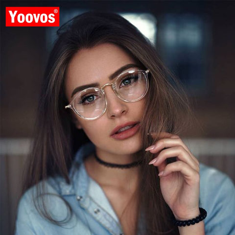 Yoovos Round Glasses Frame Blue Light Glasses For Women