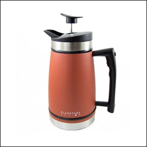 French Press With Bru-Stop 48oz - Red Rock (Orange) - French Press