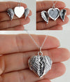 Angel Wings Heart Locket Photo Frame Necklace - 925 Sterling Silver