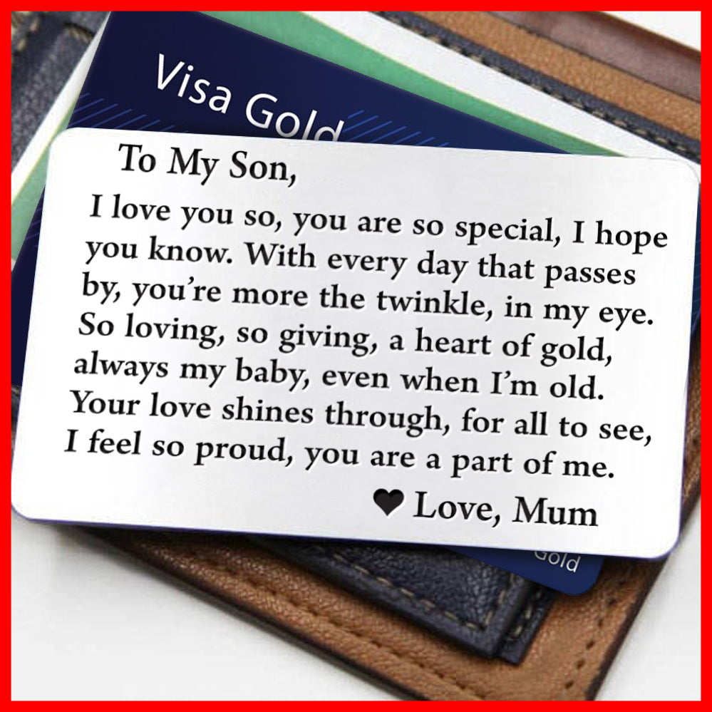 Engraved Message Wallet Insert Card Son Mum So Special Silver