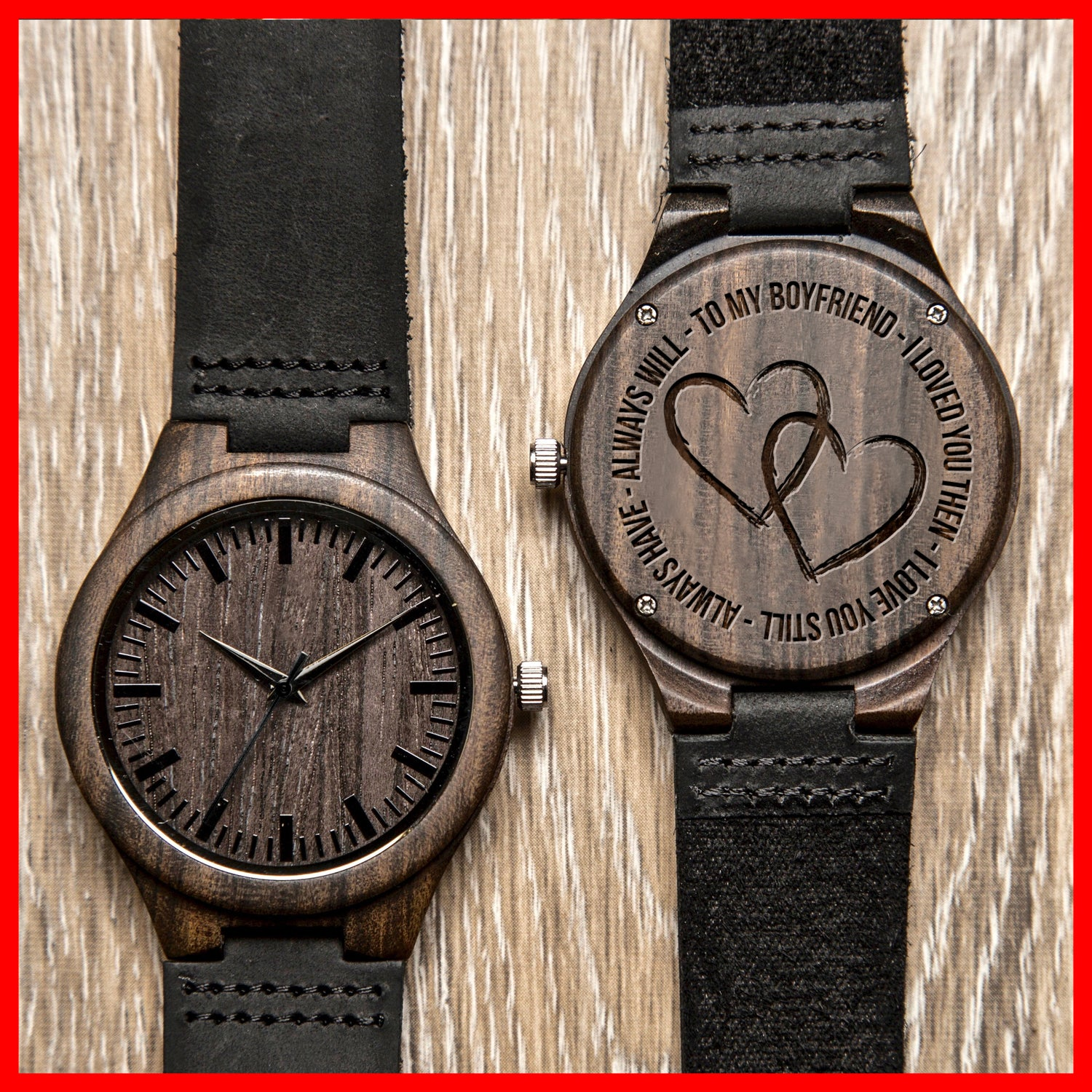 TO BOYFRIEND - LOVE ALWAYS - WOOD WATCH