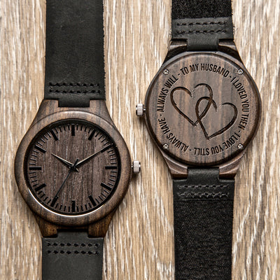 TO HUSBAND - LOVE ALWAYS - WOOD WATCH