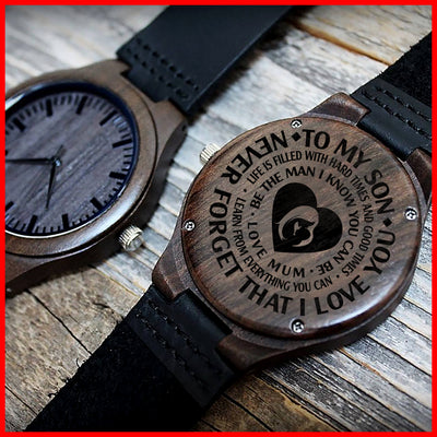 SON MUM - BE THE MAN I KNOW YOU CAN BE - WOOD WATCH