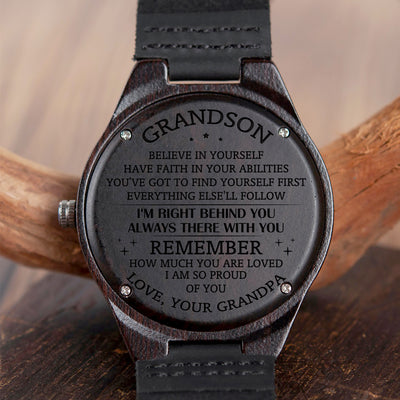 GRANDSON GRANDPA - HAVE FAITH IN YOUR ABILITIES - WOOD WATCH
