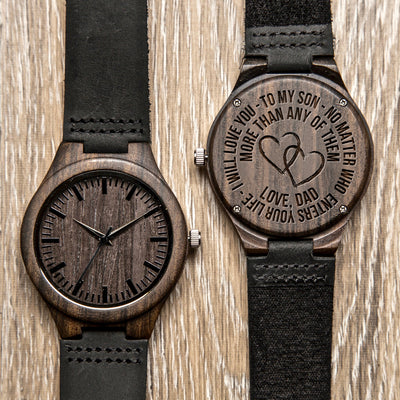 SON DAD - LOVE YOU MORE - WOOD WATCH