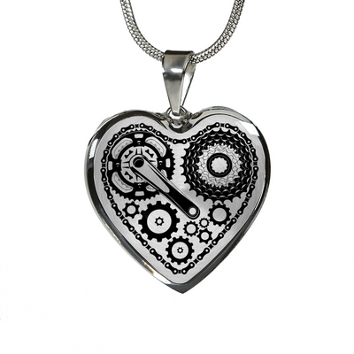 BICYCLE CHAIN HEART NECKLACE