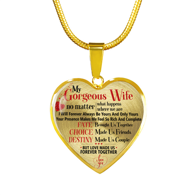 MY WIFE - NECKLACE - REAL 18K GOLD FINISH & SILVER