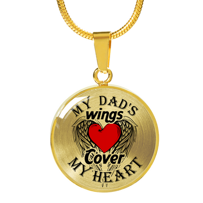 MY DAD'S WINGS - REAL 18K GOLD FINISH & SILVER