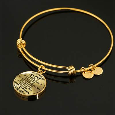 FOR MY PRETTY DAUGHTER - NECKLACE & BANGLE - 18K GOLD FINISH & SILVER