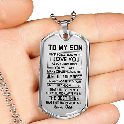 SON DAD - THE BEST THING - PREMIUM DOG TAG