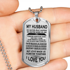 MY HUSBAND - DOG TAG - REAL 18K GOLD NECKLACE & SILVER