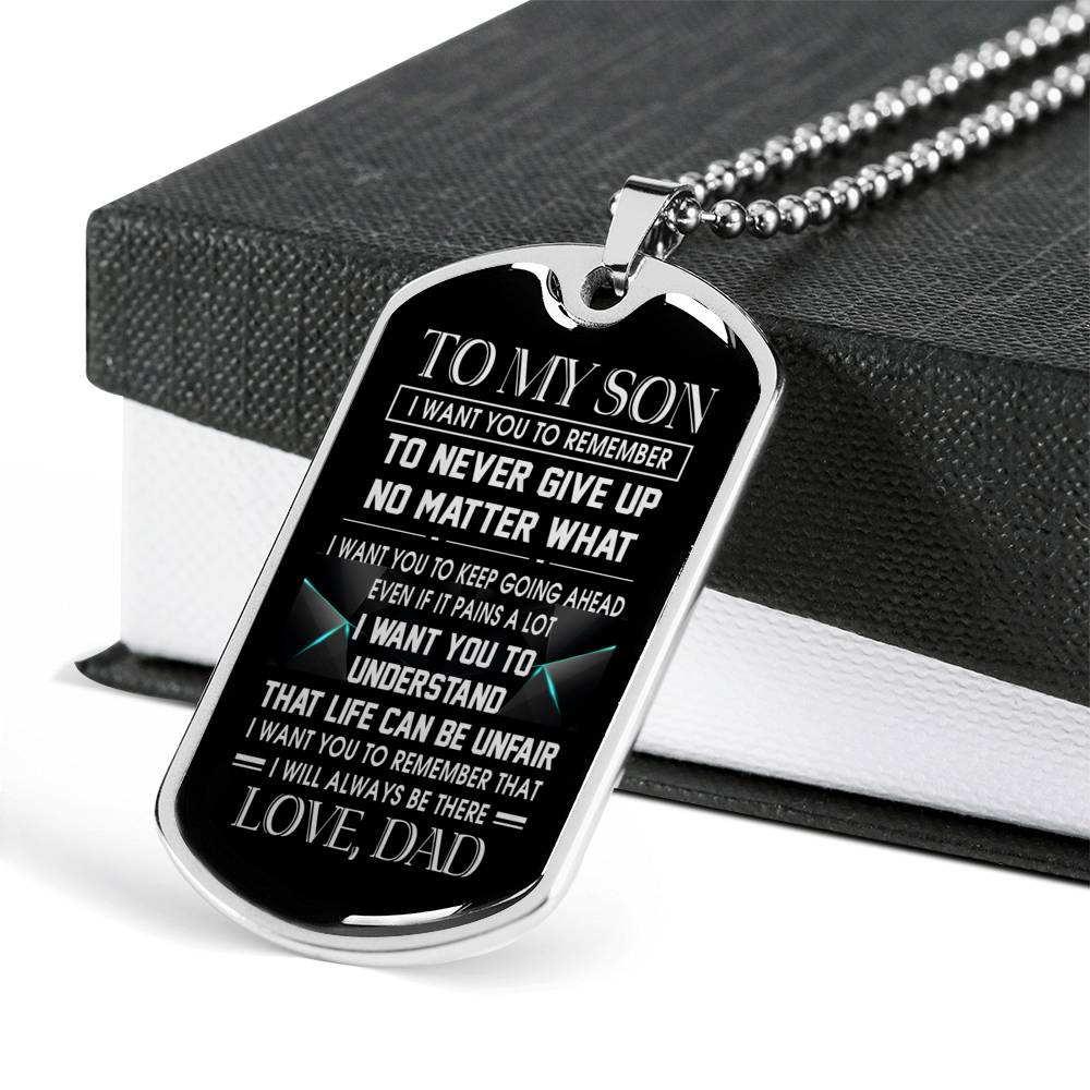 SON DAD - LIFE CAN BE UNFAIR - PREMIUM DOG TAG
