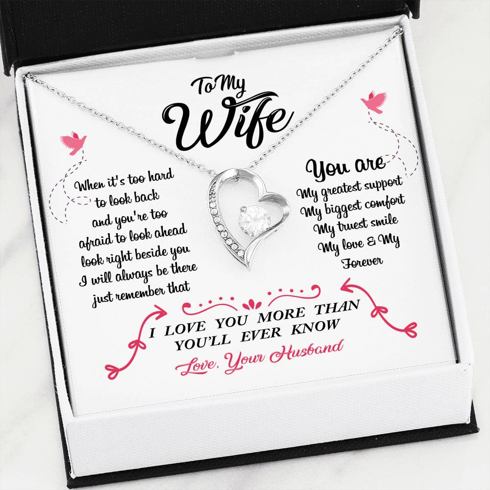 TO MY WIFE - YOU ARE MY GREATEST SUPPORT - FOREVER LOVE HEART NECKLACE