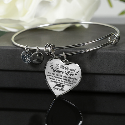 TO MY BEAUTIFUL FUTURE WIFE - NECKLACE & BANGLE - SILVER & REAL 18K GOLD FINISH