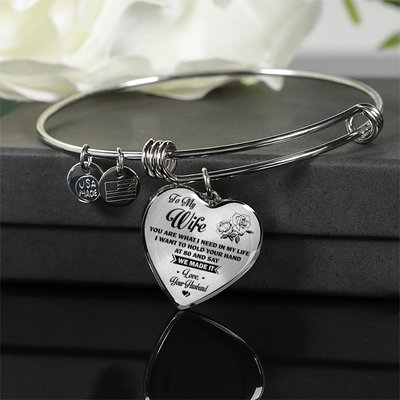TO MY WIFE - NECKLACE & BANGLE - SILVER VERSION