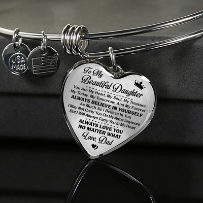 TO MY BEAUTIFUL DAUGHTER - SILVER VERSION - NECKLACE & BANGLE