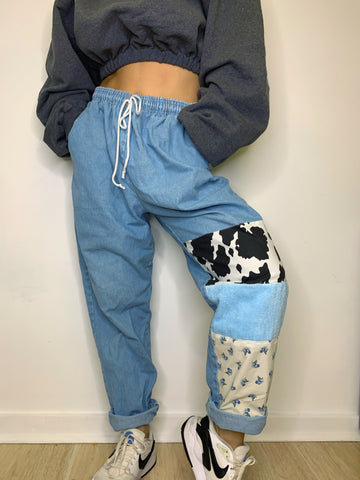 Patchwork Drawstring Jeans