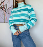 Stripe Turtle Neck Crop