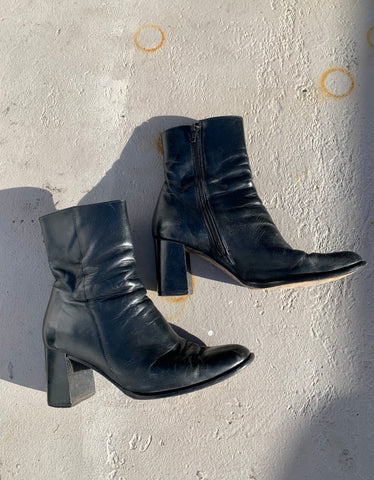 Vintage Leather Ankle Boots - Size 7
