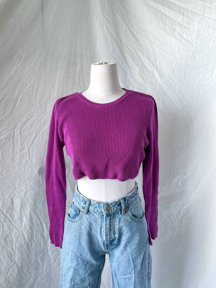 Load image into Gallery viewer, Purple Ribbed Cutoff Sweater